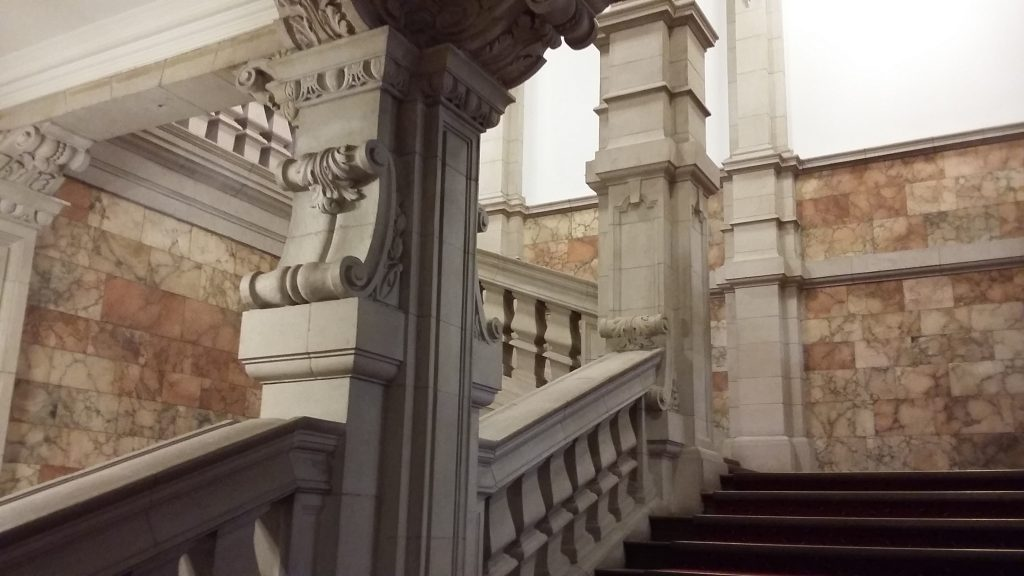 The staircase in Main Building of Cardiff University